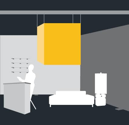 cubo sotenido en techo cajas de luz impresionante